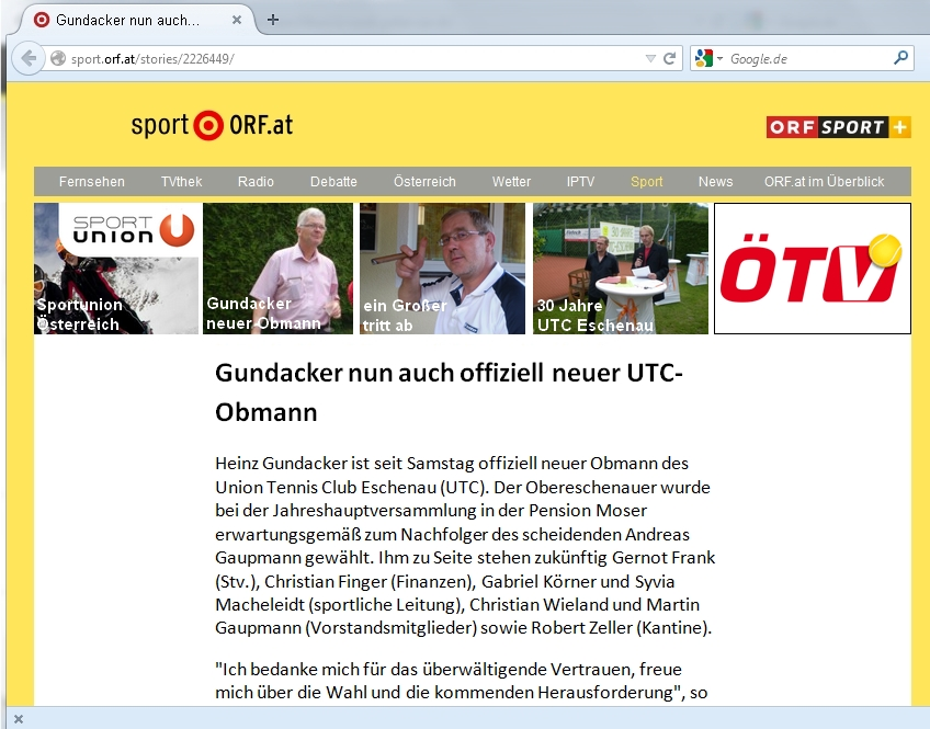 Screenshot Orginalbericht sport.orf.at